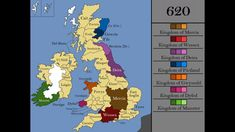 Map of Britain and Ireland in 620 AD