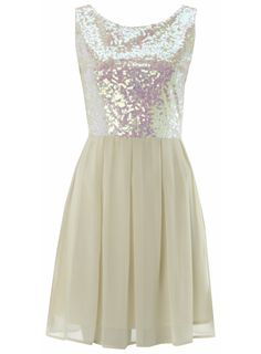Cream Sequin Front Chiffon Dress