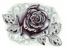 black and grey rose with drops by ~ZeroMarla on deviantART. I like this one, too... minus the drops.