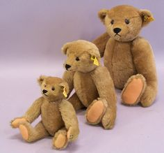 Set of three Steiff stuffed Teddy bears Made in West Germany 1965