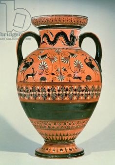 Black figure vase known as the Northampton Vase (pottery). Greek, (6th century BC) / Private Collection / Photo © Christie's Images / The Bridgeman Art Library