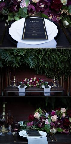 Moody jewel tone wedding reception styling | Lola Images