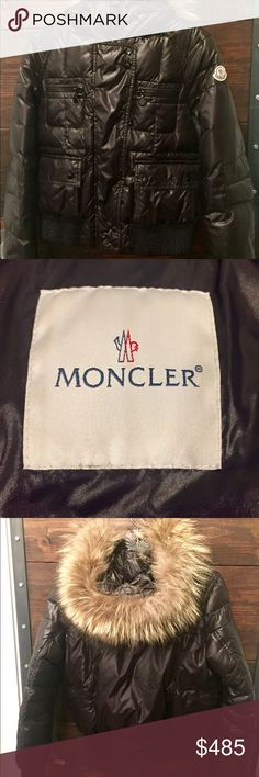 Moncler Women's Down Puffer Bomber Jacket - Size 2 Model Name: Georgia (sewn on interior tag)  Color: Black  Size: 2 (Moncler 2 = US size small/medium)  Measurements Length of Back from Hood: 50cm Sleeve Length from Pit: 53cm Chest (Pit to Pit): 52cm  Material Shell: 100% Polymide Lining: 100% Polymide Fill: 100% Real Down Fur: 100% Genuine Rare model Official Moncler logo patch on sleeve and official cartoon tag on interior.  Great condition! Zipper pulls have small bits of paint worn off…