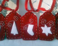Set of Five Red and White Felt Christmas Hanging Ornament or Gift Tag