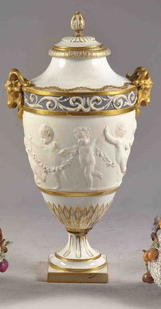 Porcelain urn vase with cover by Sevres, France 19th Cent.
