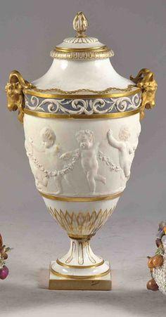 Porcelain urn vase with cover by Sevres, France 19th Cent.