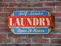 Plaque métal Laundry Self-Service, déco atelier, Retrodeco