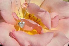 Pendant, silver heart charm, textured. £35.00, via Etsy.