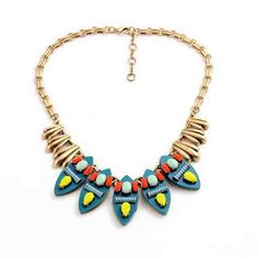 Blue Yellow Fashion Necklace