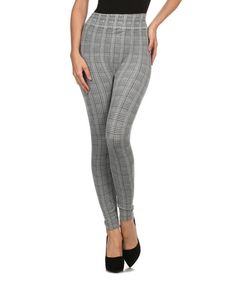 This BellaBerry USA Black & White Glen Plaid High-Waist Leggings by BellaBerry USA is perfect! #zulilyfinds