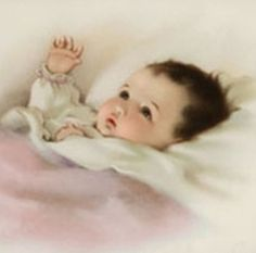 Bessie Pease Gutmann - Baby with the Golden Glow of Sweet Dreams. This picture hung in my childhood bedroom-love it. Images Vintage, Vintage Pictures, Vintage Postcards, Baby Images, Baby Pictures, Bessie Pease Gutmann, Dream Painting, Baby Prints, Baby Cards