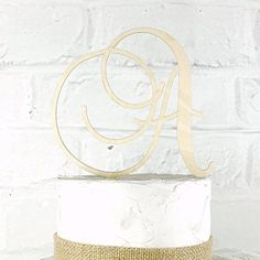 6 Inch Rustic Wedding Cake Topper Monogram Personalized in Any Letter A B C D E F G H I J K L M N O P Q R S T U V W X Y Z -- Read more at the image link.
