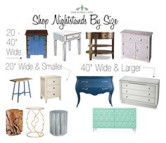 """""""Shop Nightstands By Size"""" by onekingslane ❤ liked on Polyvore featuring interior, interiors, interior design, home, home decor, interior decorating, David Gaynor, Regina-Andrew Design, Hooker Furniture and ModShop"""