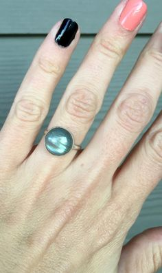 Elegant Flashy Labradorite Sterling Silver Protection Ring by GildedBug on Etsy