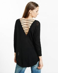 lace back slub knit circle hem sweater