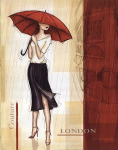 I'd love to recreate this in a photograph.  I've got a similar outfit and shoes; just need a red umbrella.