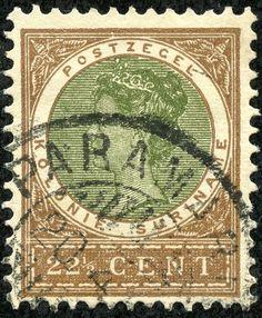 """Suriname  1902 Scott 55 22½c brown & olive green """"Queen Wilhelmina"""""""