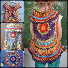 Crochet Chaleco Circular with Free Pattern - for Leah Crochet Circle Vest, Crochet Vest Pattern, Crochet Circles, Crochet Tunic, Crochet Jacket, Crochet Motif, Crochet Clothes, Crochet Stitches, Crochet Patterns