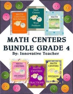 Math Centers Bundle - Grade 4 includes 30 center activities that will strengthen your student's understanding of rounding, word problems, patterns, division, fractions, and division.