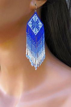 Blue and White Ombre Earrings - Seed Bead and Crystal Earrings - Beaded Fringe Earrings - Long Woven - Everyday Earrings