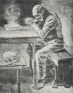 Prayer Before the Meal | Vincent van Gogh, 1882. Realism. Genre: sketch and study. Pencil, chalk, ink, paper