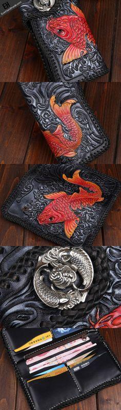 Handmade leather Black biker trucker wallet leather chain men red carp Carved Tooled wallet