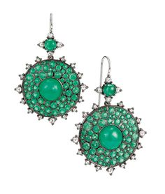 The Nam Cho earrings with diamonds and Gemfields Zambian emeralds, set in white gold and worn by Mila Kunis to the premiere of her new film 'Third Person', are available to buy at fragments.com.