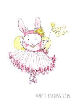Ballerina Bunny - Watercolor Giclee Print, Original Artwork, Children's illustration, Nursery Print