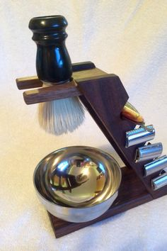 Solid Walnut Shaving Brush and Razor Stand