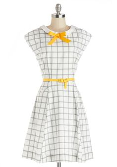 Look #1 on MyFashionistaStyle.com | Shoreline Memories Dress by Myrtlewood - Mid-length, Woven, White, Yellow, Black, Bows, Belted, Casual, A-line, Cap Sleeves, Better, Print, Exclusives, Private Label, Spring, Top Rated