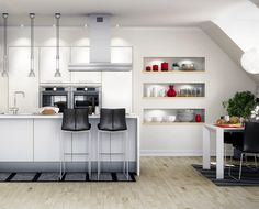 Enkelt och öppent kök med rena linjer