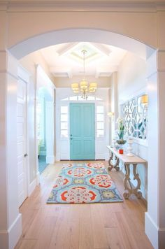 Aqua front door with coralBe Colorful Coffered Ceiling in Sherwin Williams Waterfall http://www.becolorfulcoastal.com/2017/03/color-of-the-week-sherwin-williams-waterfall.html