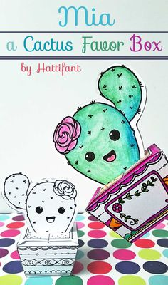 Cutest Little Cactus Papercraft To Color And DIY
