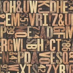 "Oxford Letterpress Typography 33' x 20.5"" 3D Embossed Wallpaper"