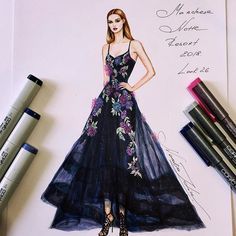 Marchesa Notte Resort 2018 gown 💕💙💕@marchesafashion @georginachapmanmarchesa @kerencraigmarchesa (@copicmarker, copic multiliners on @xpress_it blending card) #handdrawn #sketch #marchesa #marchesanotte #resort #fashionillustration #luxury #designer #newyork #art #marchesafanfriday #luxurious #event #embroidery #gown #платье #dress #highlow #instafashion #instalike #nataliazorinliu #fashion #draw #followme #blogger #copic #instagood #рисунок #fashionista