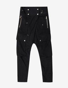 Black Drop Crotch Sweat Pants with Mesh