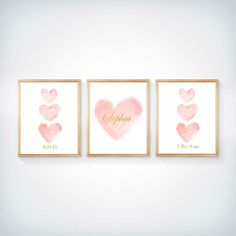 Blush Nursery, Pink and Gold Nursery, Set of 3 - 8x10 Watercolor Prints, Blush…
