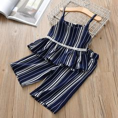 2019 New Summer Girls Outfits Striped Print Sleeveless Strap +Long Pants Casual Clothing Sets Girls Summer Outfits, Toddler Girl Dresses, Girl Outfits, Summer Girls, Girls Frock Design, Baby Dress Design, Baby Girl Frocks, Frocks For Girls, Baby Frocks Designs