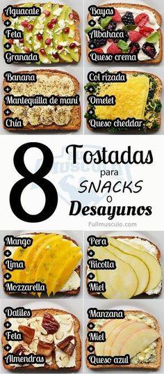 Recetas deliciosas de Tostadas para snacks y desayunos. #Fitness #Salud #Health #Diet #Dieta #Nutrition #Nutricion #dietavegetarianasalud #nutricionysalud
