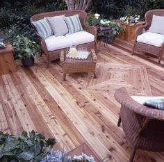 Thompson's Water Seal Fabric Seal helps protect these light fabric cushions from stains.  (I love this deck also)