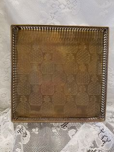 SOLD. Vintage Square Brass Tray - Gallery Edge Brass Tray with Feet in Etched Pineapple Motif - Mid-Century Modern - Made in India - Home Decor