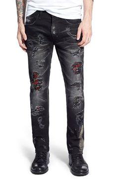 PRPS 'Demon - Botan' Destroyed Slim Straight Leg Jeans (Black) available at… Ripped Jeans Men, Black Denim Jeans, Denim Skinny Jeans, Denim Trends, Zara Man, Best Jeans, Jeans Brands, Denim Fashion, Hades Costume