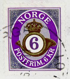 beautiful stamp Noreg 6 Kr. Norge postfrim Norwegen Norway post horn posthorn cor du postillon cornetta timbre briefmarke by stampolina
