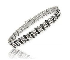 $44.99 Sterling Silver Black Diamond Accent S Pattern Tennis Bracelet