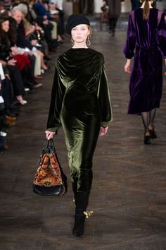Ralph Lauren Fall 2013 (I have 5 yards of this exact fabric in this exact color. Olive green silk velvet; best velvet in the world. This dress is great and that hand bag is awsome.)