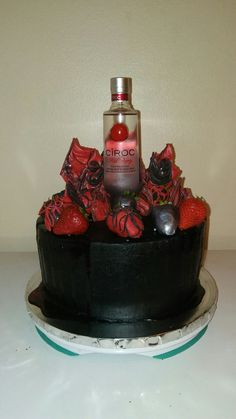 Ciroc cake 16th Birthday Cake For Girls, My Birthday Cake, Birthday Cakes For Men, 24th Birthday, Creative Cake Decorating, Creative Cakes, Henessy Cake, Liquor Cake, Different Kinds Of Cakes