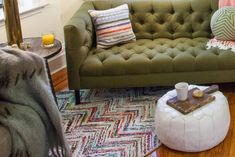 15 Small Spaces That'll Make You Want To Redesign Your Entire Life #refinery29  http://www.refinery29.com/small-space-design-ideas#slide-9  A children's rug is less expensive and better suited to small space living than a similar style from an adult-oriented outlet....