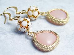 White Crystal Ball with Light Coral Pink by smallbluethings, $28.00