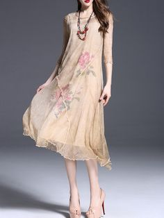 Shop Midi Dresses - Vintage Half Sleeve Asymmetric Midi Dress online. Discover unique designers fashion at StyleWe.com.
