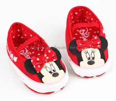 Toddler Baby Girls Minnie Mouse Slip on Crib Shoes Size 0 6 6 12 12 18 877a09d12